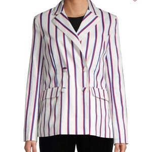 English Factory Striped Double Breasted Blazer S